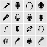 Vector black microphone icon set royalty free illustration