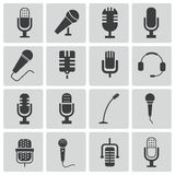 Vector black  microphone  icons Royalty Free Stock Images