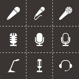 Vector black microphone icons set Royalty Free Stock Photography
