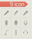 Vector black microphone icons set Royalty Free Stock Images