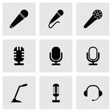 Vector black microphone icons set Stock Photo