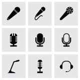 Vector black microphone icons set Stock Photo