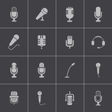 Vector black  microphone  icons set Stock Photography
