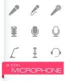Vector black microphone icons set Stock Photos