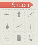 Vector black military icons set Royalty Free Stock Photography