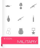Vector black military icons set Stock Photography