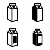 Vector black milk carton packages icons set Stock Photography
