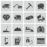 Vector black  mining icons Stock Photography