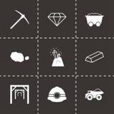 Vector black mining icons set. On black background Royalty Free Stock Image