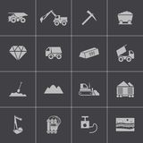 Vector black  mining icons set Stock Photos