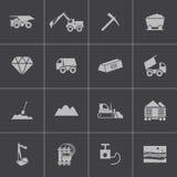 Vector black  mining icons set Stock Photos
