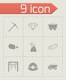 Vector black mining icons set Royalty Free Stock Photography