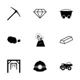 Vector black mining icons set Stock Photography