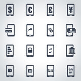 Vector black mobile banking icon set. On grey background Stock Photography