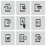 Vector black mobile banking icons set Royalty Free Stock Photography