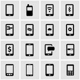 Vector black mobile icon set Stock Image
