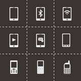 Vector black mobile icons set. On black background Royalty Free Stock Photos