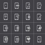 Vector black mobile icons set Royalty Free Stock Photos