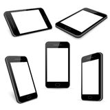 Vector black mobile phone templates set isolated on white. Gadget with touchscreen, telephone and smartphone illustration stock illustration
