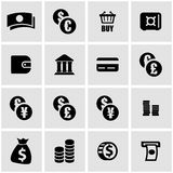 Vector black money icon set. On grey background Royalty Free Stock Photos
