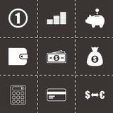 Vector black money icons set. On black background Royalty Free Stock Photos