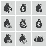 Vector black money icons set Stock Photo