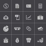 Vector black  money icons set Stock Images