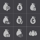 Vector black money icons set. This is file of EPS10 format Stock Photos