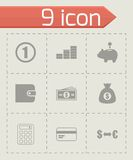 Vector black money icons set Stock Photos