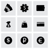 Vector black money icons set. On grey background Stock Image