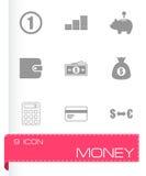 Vector black money icons set. On white background Stock Photo