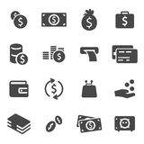 Vector black money icons set. On white background Royalty Free Stock Photos