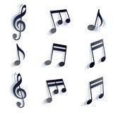 Vector black monochromatic musical notes and symbols isolated on Royalty Free Stock Photos