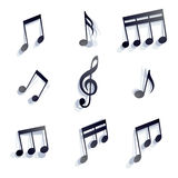 Vector black monochromatic musical notes and symbols isolated on Royalty Free Stock Image