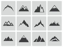 Vector Black Mountains Icons Set Stock Images