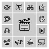 Vector black movie icon set. This is file of EPS10 format Stock Photos