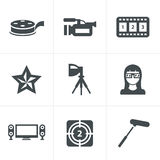 Vector black movie icon set on gray.  Royalty Free Stock Image