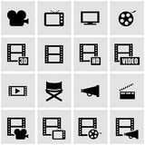 Vector black movie icon set. On grey background Royalty Free Stock Photo