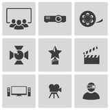 Vector black movie icons set Royalty Free Stock Images