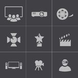 Vector black movie icons set Royalty Free Stock Image