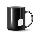 Vector Black mug cup. On white background with label Royalty Free Stock Images