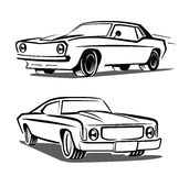 Vector black muscle car. Icon on white background Stock Photos