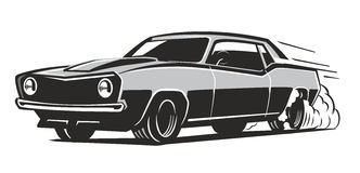 Vector black muscle car. Icon on white background Stock Images