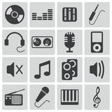 Vector black  music icons Royalty Free Stock Photo