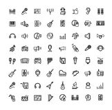 Vector black music icons set Stock Photo