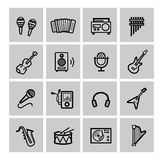 Vector black music icons set Stock Photos