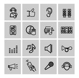 Vector black music icons set Royalty Free Stock Image