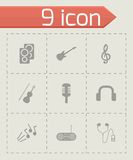 Vector black music icons set Royalty Free Stock Images