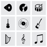 Vector black music icons set Stock Images