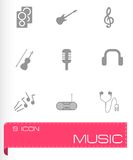 Vector black music icons set Stock Photography